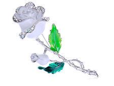 Silver White Enamel Painted Rhinestone Rose Flower Fashion Pin Brooch Jewelry