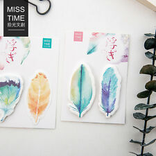 30 Sheets/pack Colorful Feathers Bookmarks Stickers Memo Pad Sticky Notes POP