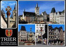 Postkarte Trier Fotokunst Schwalbe: M11 Marktkreuz,  St. Gangolf, Steipe, ...