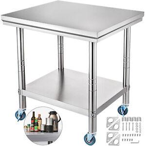 Tavolo In Acciaio Inox Banco Cucina Professionale Ristorante 76x60cm con Ruote