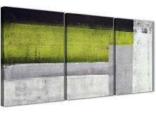 3 PEZZI Lime Verde Grigio dipinto SALOTTO ARTE in Tela-ASTRATTO 3424 - 126 cm