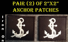 "Pair of 2""x2"" Iron On Square Embroidered Anchor Patches Maritime Yacht Sailing"