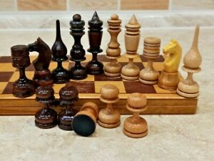 Vintage handmade beautiful wood Chess set Russian 29cm 11.5 in