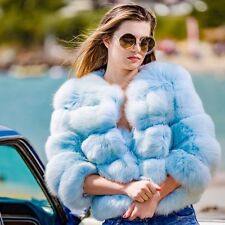 Blue short genuine fox fur coat in size 4 6 8 Tsaritsa Furs Brand New