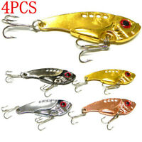 4Pcs//Set Metal Steel Fishing Lures Bass CrankBait Spoon Crank Bait Tackle Hooks