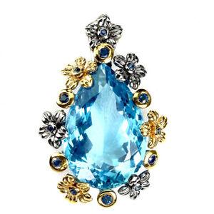 Handmade Clean 26 Ct Swiss Blue Topaz Blue Sapphire 925 Silver Pendant Special