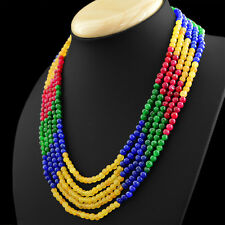 371.50 CTS EARTH MINED 5 STRAND RUBY, EMERALD & SAPPHIRE ROUND BEADS NECKLACE