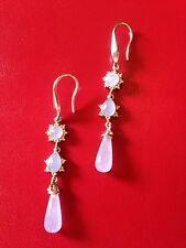 Ohrringe Lila / Flieder Echte Jade + Diamant 925er Silber Ohrhänger NEU 💜
