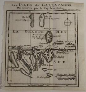 GALAPAGOS ISLANDS ECUADOR 1712 DAMPIER UNUSUAL ANTIQUE COPPER ENGRAVED MAP