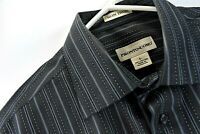 Pronto Uomo Mens Dress Shirt Black Blue Striped Size Large Long Sleeve Flip Cuff