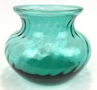 Vintage Indiana Glass Teal Bowl Optic Swirl 4 Inch MCM Gift Idea