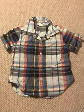 Baby Gap Boys Short Sleeved Blue Checked Shirt 12-18 Months