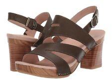 Dansko Ashlee Sandal Olive Burnished Calf Leather Strappy Block Heel NEW Size 38