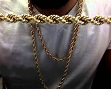 "Mens Rope Chain 30"" inch 9 mm Hip Hop Necklace 14k Gold Finish"