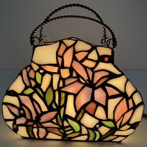 Tiffany Style Lamp Handbag Stained Glass Purse Nite Light Mood Ambience Floral