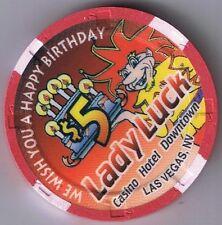 Lady Luck $5.00 1996 Happy Birthday To You Casino Chip Las Vegas Nevada