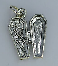 LOOK Sterling Silver Relax Skeleton Rest in Peace RIP Coffin Charm Halloween Jew