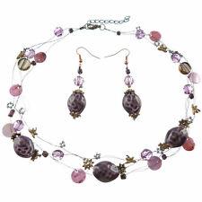 Collier Ras De Cou Boucles D'oreilles Violet Libellules Doré Perles Céramique