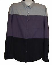 Saks Fifth Avenue Gray Multi-Color Stripes Warm Men's Cotton Shirt Sz 2XL