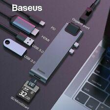 Baseus USB C HUB Splitter Type-c to HDMI RJ45 USB 3.0 PD SD/TF for MacBook Pro