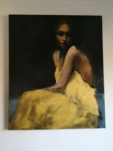 Acrylic large painting - woman in golden dress