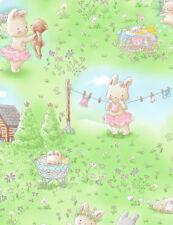 Bunnies in the Meadow Bunny Rabbit C7244 Multi color durable Cotton Fabric