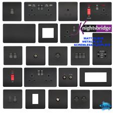 Knightsbridge Screwless Flatplate light switches & sockets MATT BLACK range
