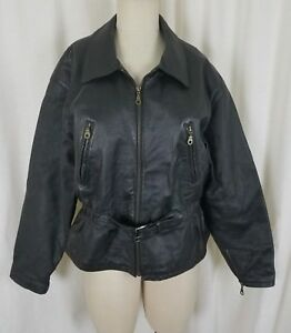 Vintage Hide Park Belted Black Leather Motorcycle Jacket Womens S M Fitted Zip