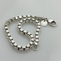 """7.75"""" Tiffany & Co Mens Unisex Sterling Silver Venetian Box Link Bracelet"""