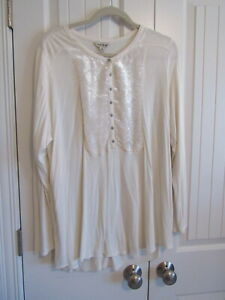 Lucky Brand Ivory Tunic Top with Velvet Inset Size 2X