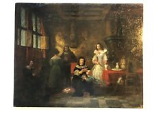 Ölgemälde alt Blumen Hof Adel Schloss Geburtstag Kind signiert England um 1860