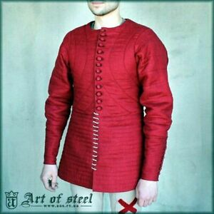 Medieval cotton Red Color Reenactment Gambeson