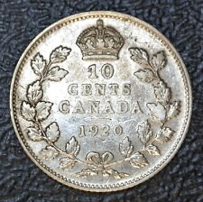 OLD CANADIAN COIN 1920 - 10 CENTS - .800 SILVER - George V - Nice Coin