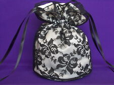 Black lace and ivory satin dolly bag bride / bridesmaid /evening/ prom/ Goth