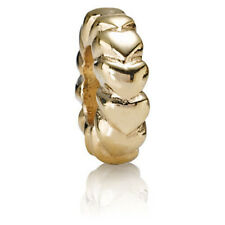 Authentic Pandora 14k Yellow Gold Spacer Charm Bead Bubble Hearts 750203 Retired