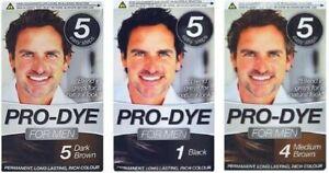 Men's Hair Dye-Black/Dark Brown or Medium Brown, Pack of 2 or 3 Pro-Dye for Men