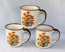 Mug Orange Flower 3 Coffee Floral Speckle Howard Holt Japan Mid Century Vtg Tea