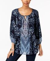 Style & Co Women's Printed Keyhole Floral Top Size M