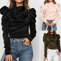 Fashion Women Autumn Winter Warm Long-Sleeve Ruffle Bow Tie Casual Blouse Tops