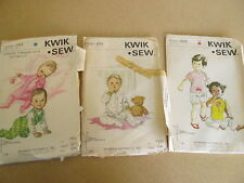 LOT 3 Kwik Sew Ingant Baby Toddler patterns girl boy   UNCUT  VINTAGE