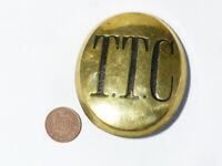 Antique T.T.C. Oval Council Corporation Horse Brass Harness Mount Badge  #HB19