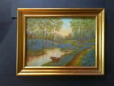 Antique French Landscape, Oil Painting, Bluebells, Wood, River, Impressionism