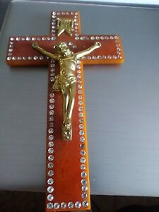 Vintage Cross Bakelite & Rhinestone Crucifix Jesus Catalin Christianity Hanging