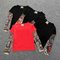 Kids Children's Tattoo Long Sleeve T Shirts Boys Girls Cotton Tee Tops Age 2-7