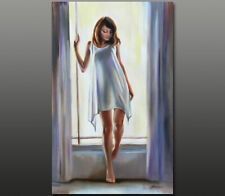 Gala ORIGINAL realistic art nude girl female figure window oil painting ~ NEW