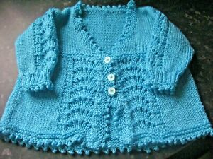 """LOVELY HAND KNITTED MATINEE COAT (0-3 months) SEA GREEN 18"""" Chest"""