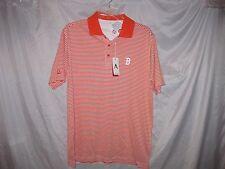 Antigua Boston Red Sox Men's Major Stripe Polo Golf Shirt Orange Large NEW
