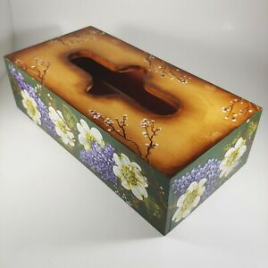 Hand Painted Floral Tissue Box Cover - White & Purple Lilac Flowers - Signed