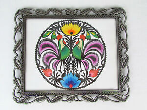 Framed Polish Wycinanki Art Cut Paper With Two Roosters & Flowers Colorful 10x12