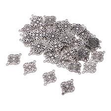 50x Alloy Filigree Flower Pendant DIY Bracelet Jewelry Charm Findings Silver